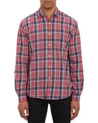 Barneys New York Plaid Twill Shirt - Lyst