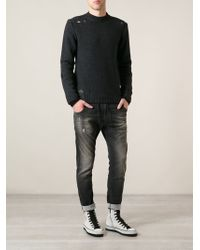Diesel Gray Distressed Sweater - Lyst