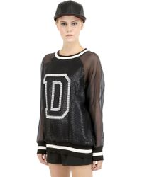 DKNY Sequined Silk Organza Top - Lyst