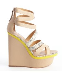 L.A.M.B. - Khaki And Yellow Leather Python Accent 'Jenelle' Wedge Sandals - Lyst