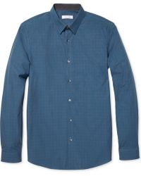 Calvin Klein End-on-end Checked Slim-fit Shirt - Lyst