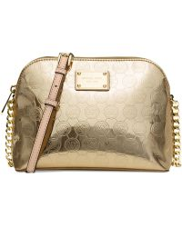 Michael Kors Michael Cindy Large Dome Crossbody gold - Lyst