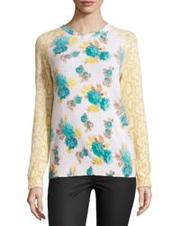 Equipment Cashmere Sloane Mixedprint Sweater - Lyst