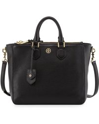 Tory Burch Robinson Pebbled Square Tote Bag - Lyst
