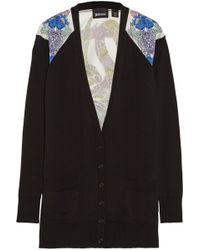 Just Cavalli Satin-Paneled Knitted Cotton Cardigan - Lyst