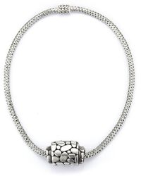 John Hardy Pre-owned Sterling Silver Braided Necklace with Kali Pebble Pendant - Lyst
