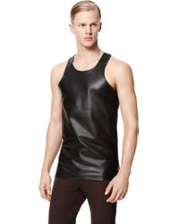 Calvin Klein Collection Paperweight Leather Racer Tank - Lyst