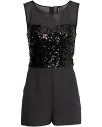 H&M Sequined Playsuit - Lyst