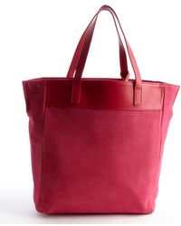 Saint Laurent Fuchsia Suede Shopper Tote - Lyst