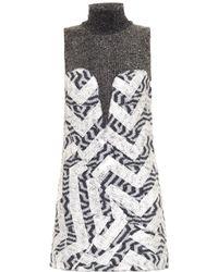Kenzo Metallic-foil Boiled-wool Dress - Lyst