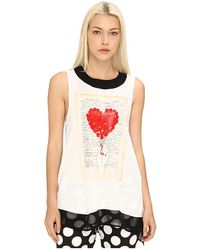Love Moschino Graphic Tank with Black Mesh Trim - Lyst
