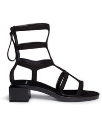 Pierre Hardy Block Heel Suede Gladiator Sandals black - Lyst