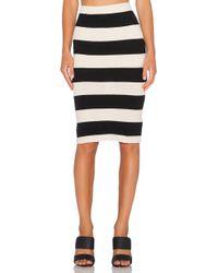 James Perse Bar Stripe Pencil Skirt black - Lyst