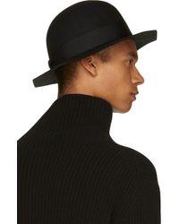 Robert Geller Black Wool Geometric Hat