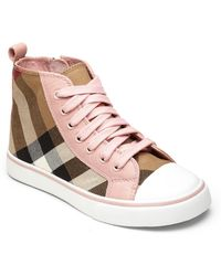 Burberry Little Girls  Girls Check High-top Sneakers - Lyst