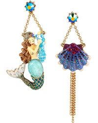 Betsey Johnson - Gold-Tone Mermaid & Seashell Mismatch Drop Earrings - Lyst