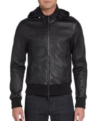 Giorgio Armani Hooded Leather Bomber Jacket - Lyst