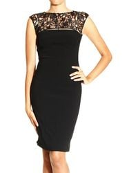 John Richmond  Sleeveless in Cady with Leather Embrodery On Top Dress - Lyst