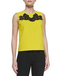 Diane Von Furstenberg Betty Tank with Embroidered Neck - Lyst