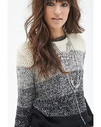 Forever 21 Colorblocked Chevron Knit Sweater - Lyst