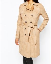 Lipsy - Suedette Mac Coat With Belt - Lyst