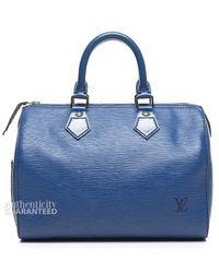 Louis Vuitton Pre Owned Toledo Blue Epi Leather Speedy 25 Bag - Lyst