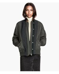 H&M Padded Bomber Jacket - Lyst