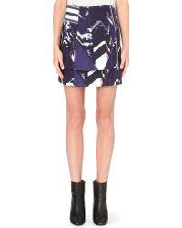 Kenzo Mountains Layered Stretchcotton Skirt Dark Purple - Lyst