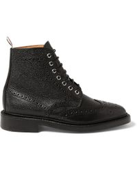 Thom Browne Pebbledleather Brogue Boots - Lyst
