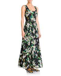 Dolce & Gabbana Zagara Floral Poplin Long Dress floral - Lyst