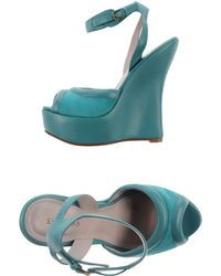 Elie Saab Sandals teal - Lyst
