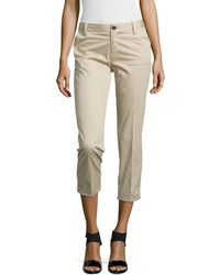 J Brand Rolled-Cuff Crop Trousers - Lyst