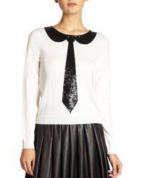 Alice + Olivia Delray Sequin Tie Sweater - Lyst