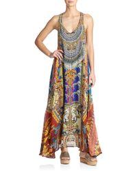 Camilla Printed Silk Racerback Dress - Lyst