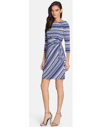 Tahari Women'S Print Jersey Wrap Detail Sheath Dress - Lyst
