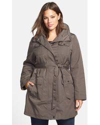 Ellen Tracy Plus Size Women'S Techno Trench Raincoat - Lyst