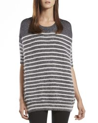 Gucci Metallic Striped Crewneck Sweater Top - Lyst