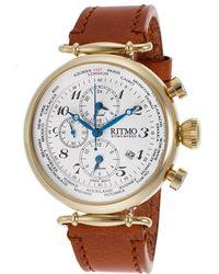 Ritmo Mundo | Men's Corinthian World Timer Chrono Light Brown Leather Gold-tone Case | Lyst
