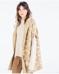Zara Jacquard Hooded Three Quarter Length Coat - Lyst