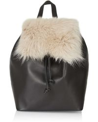 Topshop   Premium Shearling Backpack   Lyst