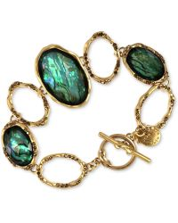 Jones New York - Worn Gold-tone Erinite Stone Toggle Bracelet - Lyst