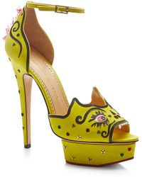 Charlotte Olympia Martia Embroidered Suede Platform Sandals - Lyst