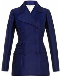 Antonio Berardi Double-Breasted Satin-Scuba Jacket - Lyst