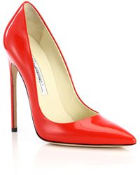 Brian Atwood Point-Toe Patent Leather Pumps - Lyst