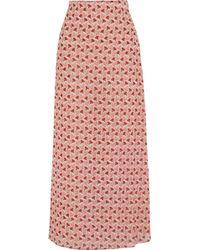 Tory Burch Gemina Printed Stretch-Silk Georgette Maxi Skirt - Lyst