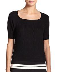 St. John Ribbed Wool Sweater Top - Lyst
