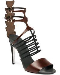 Fendi Crocodile & Leather Cage Sandals - Lyst