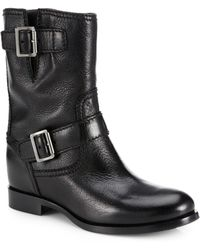 Prada Short Leather Buckle Boots - Lyst