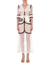 Alessandra Rich Semi-Sheer Lace Dress - For Women white - Lyst