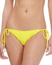 Shoshanna Textured Tieside Swim Bottom Lemon Drop Small - Lyst